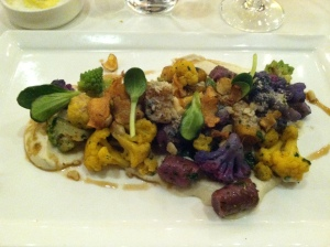 Sweet potato gnocchi and tons of veg and hazelnut yumminess