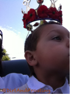 This was the only pic I was able to get of him. Yes, I am holding the crown above his head because he wouldn't wear it.